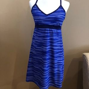 Athleta blue dress with racer back, size M